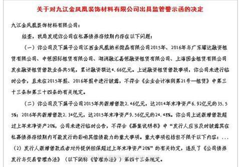 九江金凤凰装饰材料有限公司因违规被江西证监局警示