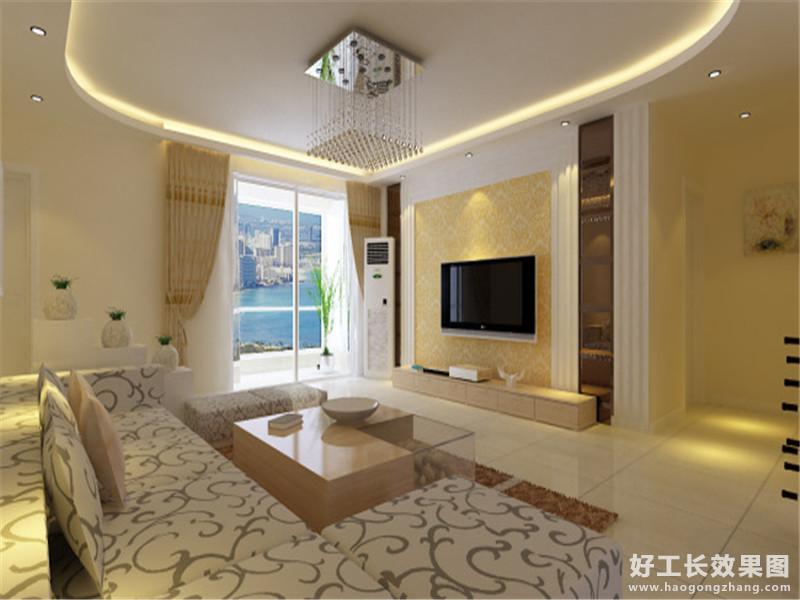 现代简约客厅吊顶设计效果图