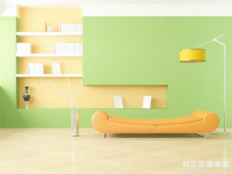 小清新简约客厅背景墙效果图