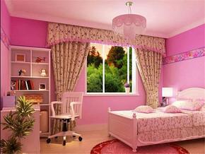 粉红色韩式卧室装修图片