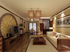 中式二室二厅简装效果图