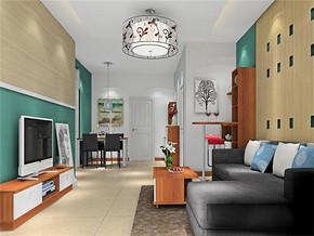 现代吊灯清新客厅颜色搭配装修案例