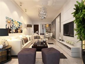 现代吊灯舒适雅致客厅家具装修图片