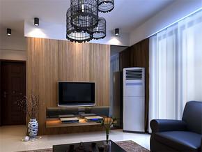 现代清新墙面简约客厅装修样板房