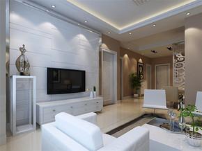 现代时尚背景墙清新客厅装修图片