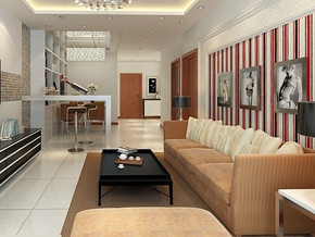 现代简约吊灯清新家居客厅装修效果图
