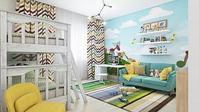 田园三室一厅一卫儿童房装修设计图