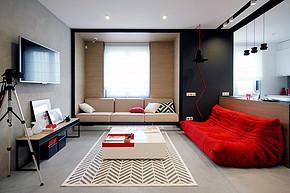 现代三室一厅一卫客厅装修效果图