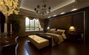 三室一厅欧式卧室床灯具吊顶装修效果图