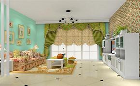 一室一厅田园家居客厅装修效果图