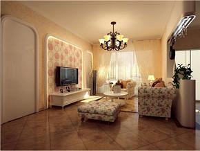 美式乡村一室客厅装修实景图