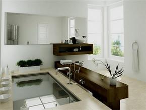 现代日式洗手间效果图