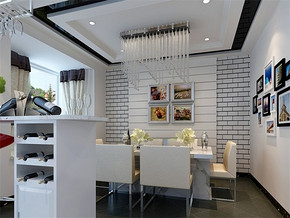 现代日式80平小户型餐厅装修图