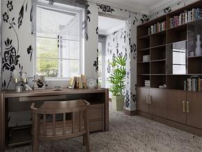 日式温馨卧室书房设计效果图