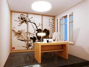 复古日式书房书桌书柜