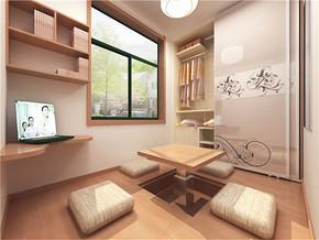日式清新实木榻榻米书房装修图片