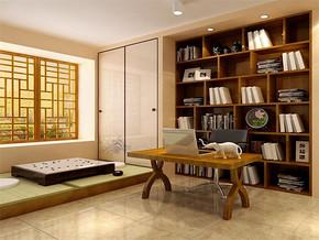 日式复古书房书架设计效果图