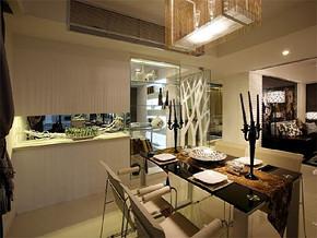 现代日式开放式餐厅厨房装修效果图