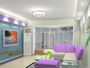 现代日式小客厅电视背景墙的效果图