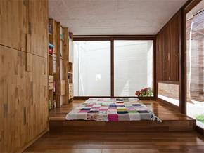 日式复古实木榻榻米书房装修图片