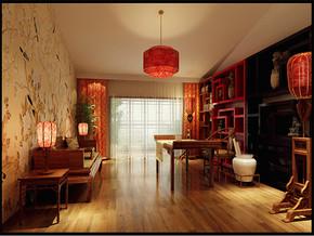 现代中式两室两厅书房吊灯装修效果图