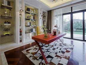 现代温馨精致博古架现代书房装修样板房
