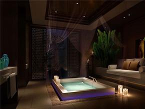 中式卫浴室奢华装修样板房