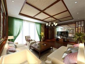 新古典客厅吊顶两室家装案例