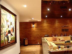 日式客厅手绘背景墙温馨装修案例