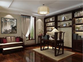 现代中式舒适别墅书房装修效果图