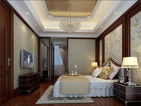 新古典时尚卧室装修样板房效果图