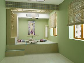 日式青色墙面榻榻米书房装修风格