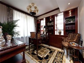 经典复古书房两室两厅装修效果图