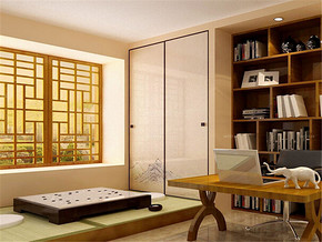 日式简约书房家居装修设计