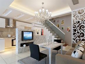 舒适欧式两室两厅复式客厅装修设计