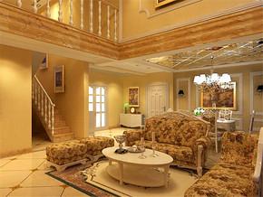 欧式两室两厅复式客厅装修效果图