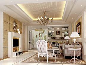 简欧吊灯时尚清新复式客厅装修案例