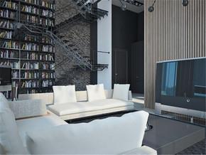 温馨简约复式客厅装修设计