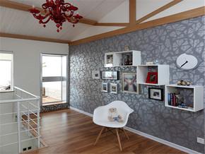 简欧风格复式清新背景墙书房装修