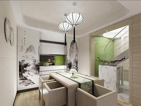 新中式风格复式四居室客厅装修效果图
