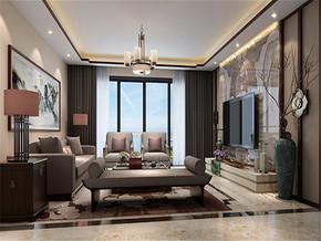 大气新古典复式客厅电视墙设计