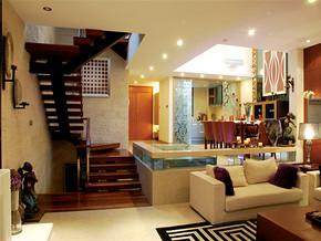 古典舒适欧式复式客厅装修实景图