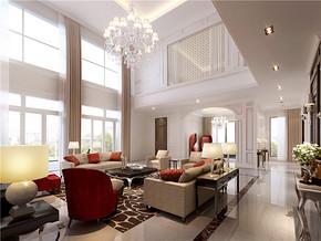 法式乡村混搭别墅客厅装修设计