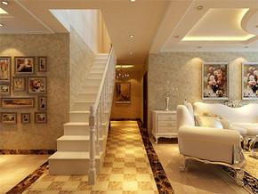 复式客厅温馨时尚壁纸装修样板房