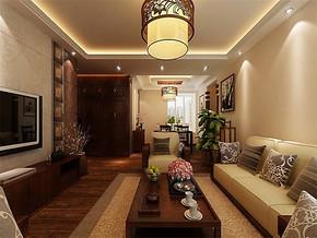 中式风格客厅阳台装修效果图