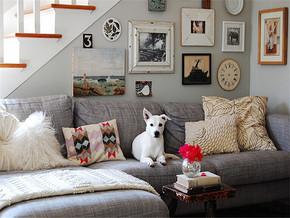 简约背景墙复式客厅家具装修图片