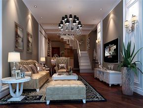 简欧吊灯复式客厅家具装修案例