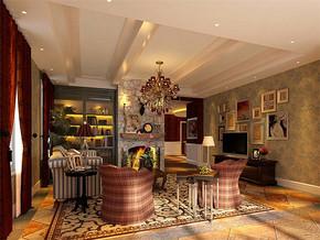 美式风格别墅地下室休息区装修效果图