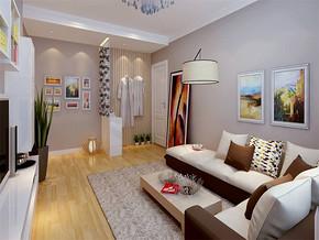 现代简约客厅窗帘隔断效果图