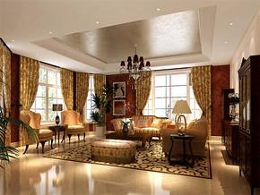美式风格别墅一层会客厅装修效果图